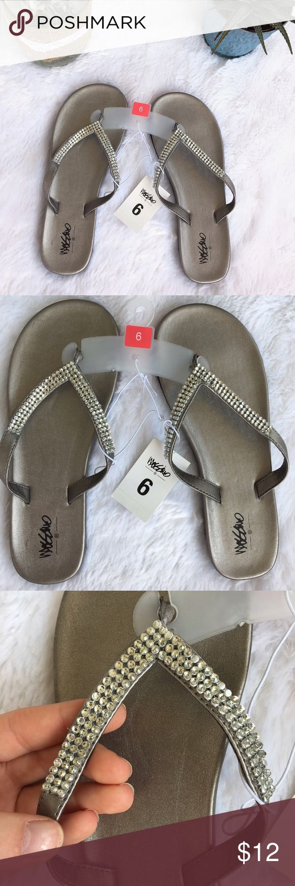NEW Silver Flip Flops, Jewel Sandals, Dress Shoes BRAND NEW silver/gray dressy flip flops! Jewels on the straps. No defects, never been worn. Lightweight and great for summer! Shoes Sandals