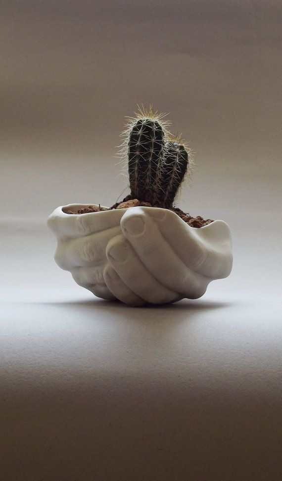 This original and beautiful handmade porcelain piece - made in the shape of the folded hands - is presented here as a planter. But it can be used for any other purpose (depending on your taste and fantasy) - tableware, soap dish, jewelry dish, tea light holder, little trinkets/office stuff storage...