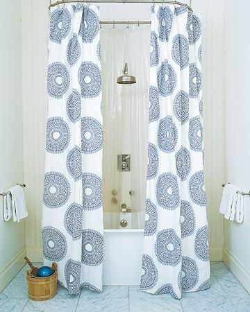 Patterned black and white shower curtain.
