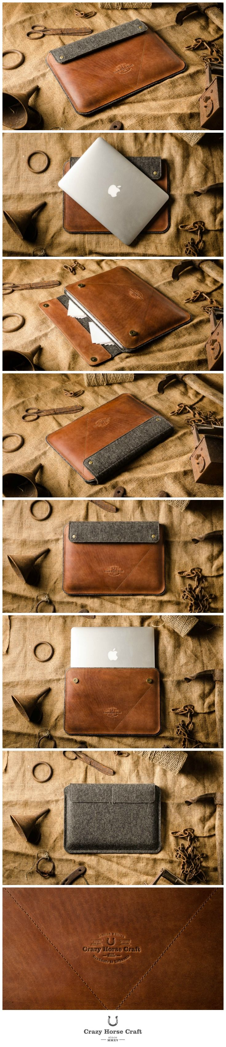 This case is made of classic saddle Crazy Horse leather on front and 100% wool felt on the back, perfectly fits Macbook air and 12 inch models. - case is wool lined from inside so your laptop is well