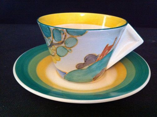 CLARICE CLIFF SECRETS CONICAL TEA CUP AND SAUCER: Clarice Cliff & Art Deco Ceramics Dealers | London