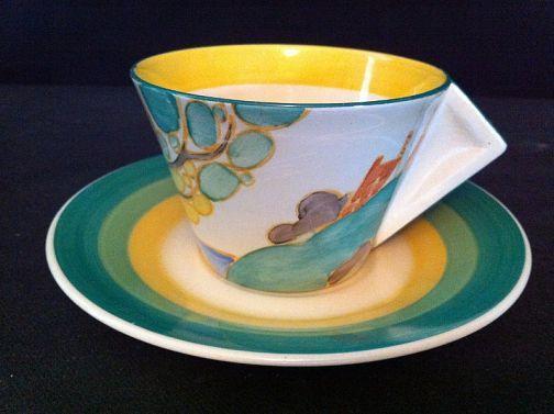 CLARICE CLIFF SECRETS CONICAL TEA CUP AND SAUCER: Clarice Cliff & Art Deco Ceramics Dealers | London
