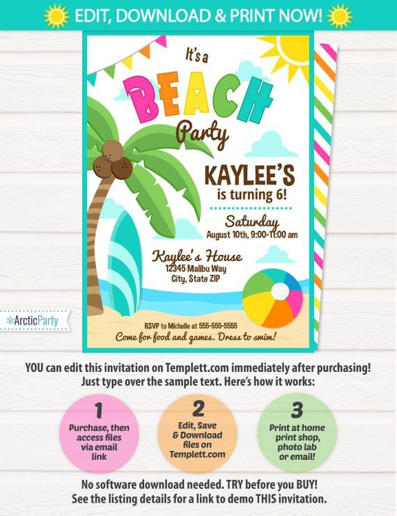 Beach Party Invitations Beach Theme Party Pink Beach Birthday