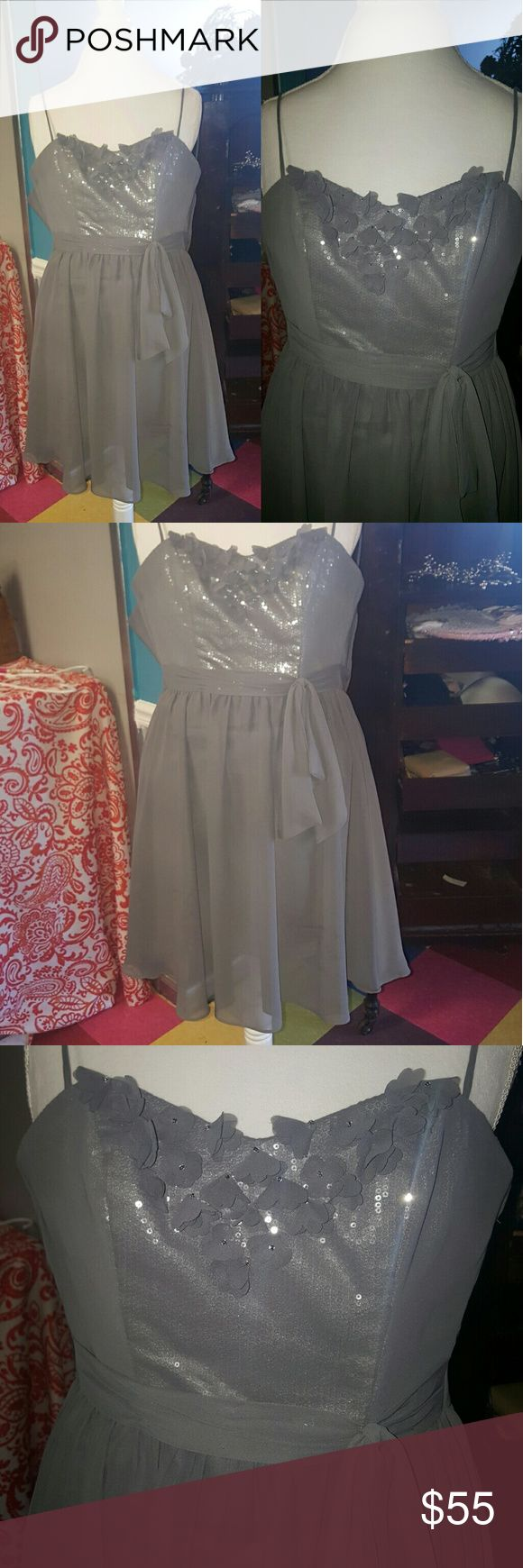 Disney Fairy Tale Weddings gray dress Excellent Disney Fairy Tale Weddings by Alfred Angelo Gray with sequins. Flower embellishments, spaghetti straps. Flowy and romantic! Size 0.  Excellent condition Disney Fairy Tale Weddings Dresses