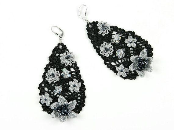 Earrings-Drop Shape Crochet Crystal Beaded Floral by PinaraDesign