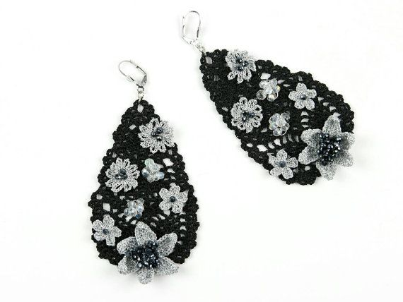 Earrings-Drop Shape Crochet Crystal Beaded Floral by PinaraDesign
