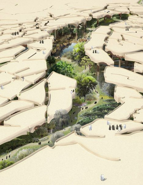 British designer Thomas Heatherwick has revealed plans to create a cavernous public park in Abu Dhabi beneath a fragmented canopy resembling the cracked surface of the Arabian desert.