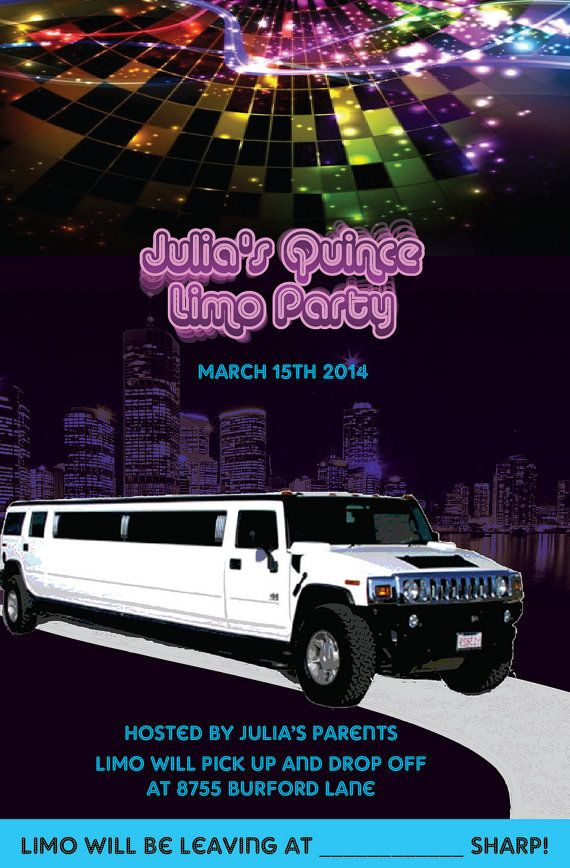 Printable Stretch Hummer Party/Quincenera Limo Party by sevenANDco