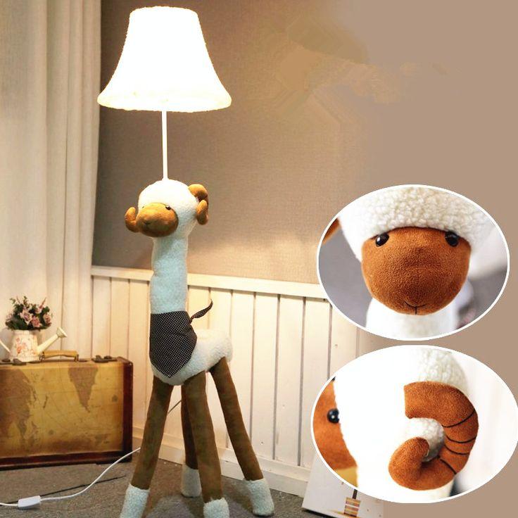 Мультфильм лампа минималистский декор и творческий пастырской ткань торшер спальня ночники мультфильм детская комната
