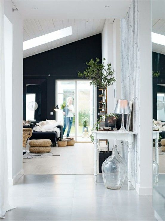 Lovely interior! =] white, tree, vase!