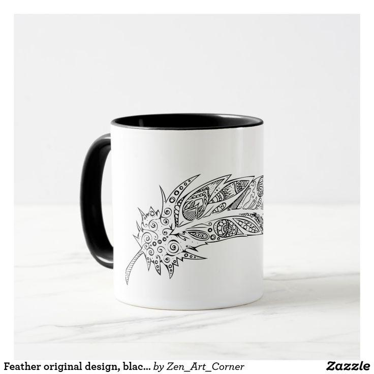 Feather original design, black and white mug