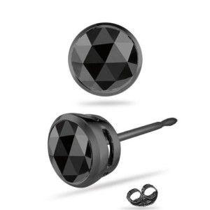 Bezel-setting black diamond studs