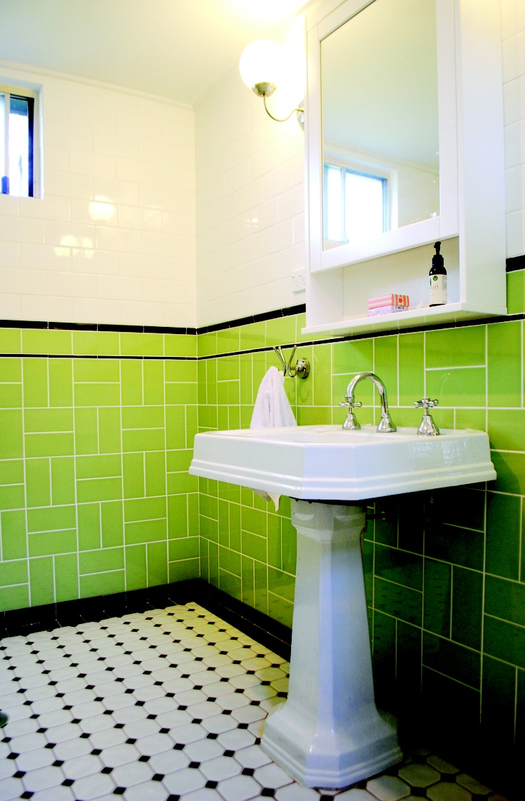 Our gorgeous art deco bathroom!    Tiling by Mountain Top Tiling