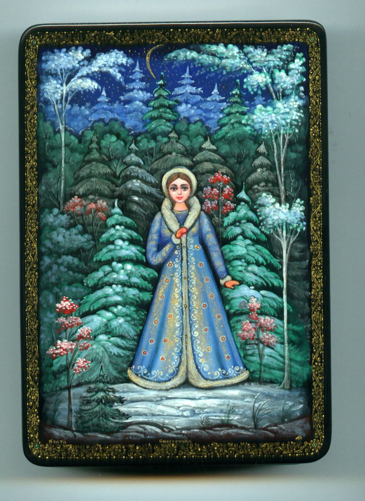 Russian Lacquer Box Kholui Snow Maiden Hand Painted | eBay