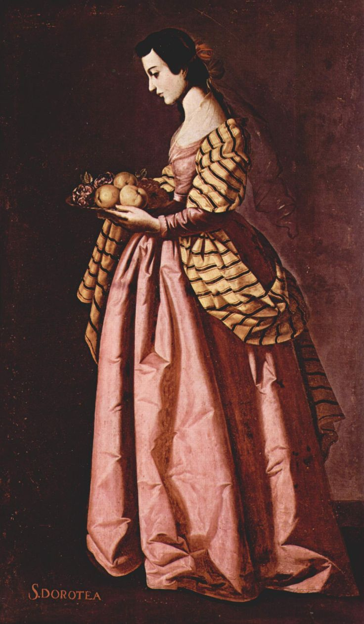 wonderful light, color, dress texture - Francisco de Zurbaran, Saint Dorothea of Cesarea (otherwise not an icon at all)