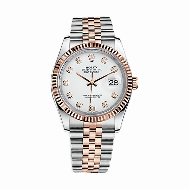 #Rolex Datejust Rose Gold & Stainless Steel #Watch (White Set with Diamonds)