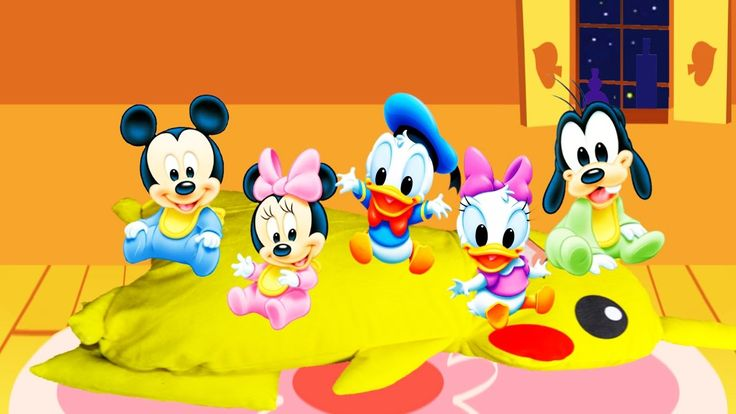 Five Baby Little Mickey Mouse Friends Jumping On The Bed - Nursery Rhyme...