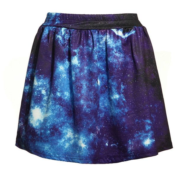Fashion Women's Blue and White Galaxy Dip Dye Elastic Skirt ($3) ❤ liked on Polyvore featuring skirts, dip dye skirt, retro skirts, blue white skirt, patterned skirts and galaxy print skirt