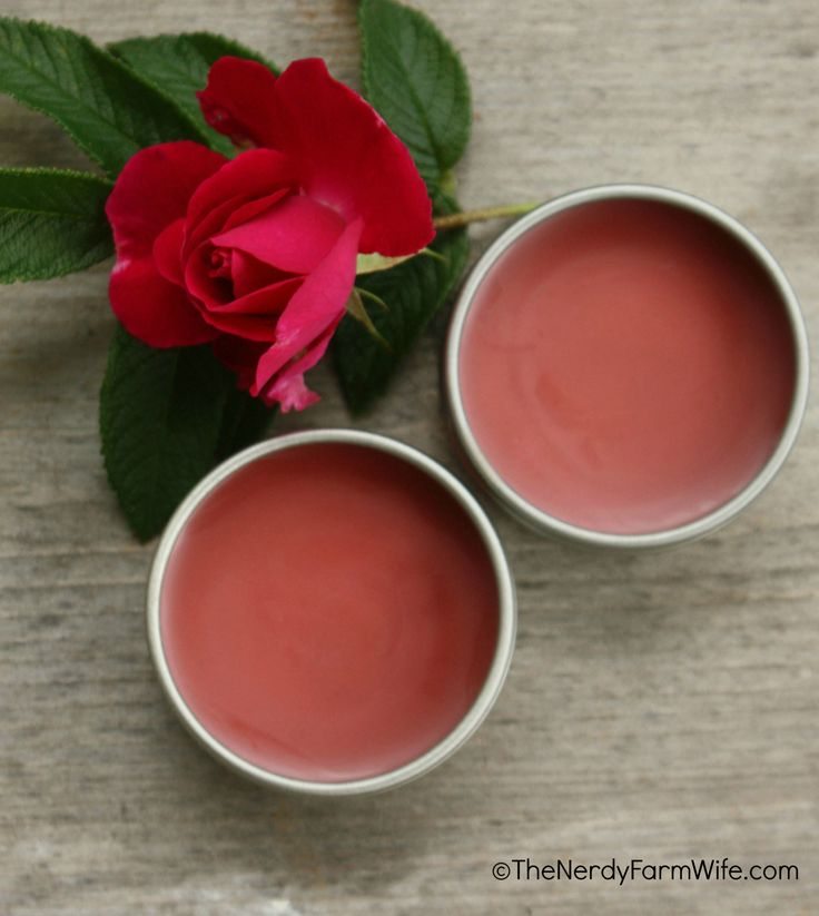 DIY peppermint rose lip balm, with rose infused oil and powdered alkanet root (for natural color)