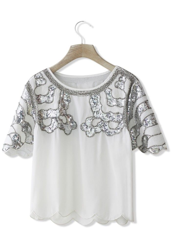 Wavy Sequins Top with Scrolled Hem in White