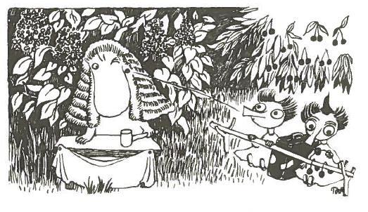 """""""Jokainen saattoi heti nähdä, että hän oli tuomari. Häntä vastapäätä istuivat Tiuhti ja Viuhti ja söivät kirsikoita syytettyjen paikalla, aition kaidetta esittävän kepin takana."""" Taikurin hattu"""