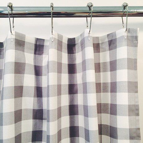 Gray Gingham Buffalo Check Shower Curtain 72x72 Bathroom Decorating Ideas Pinterest