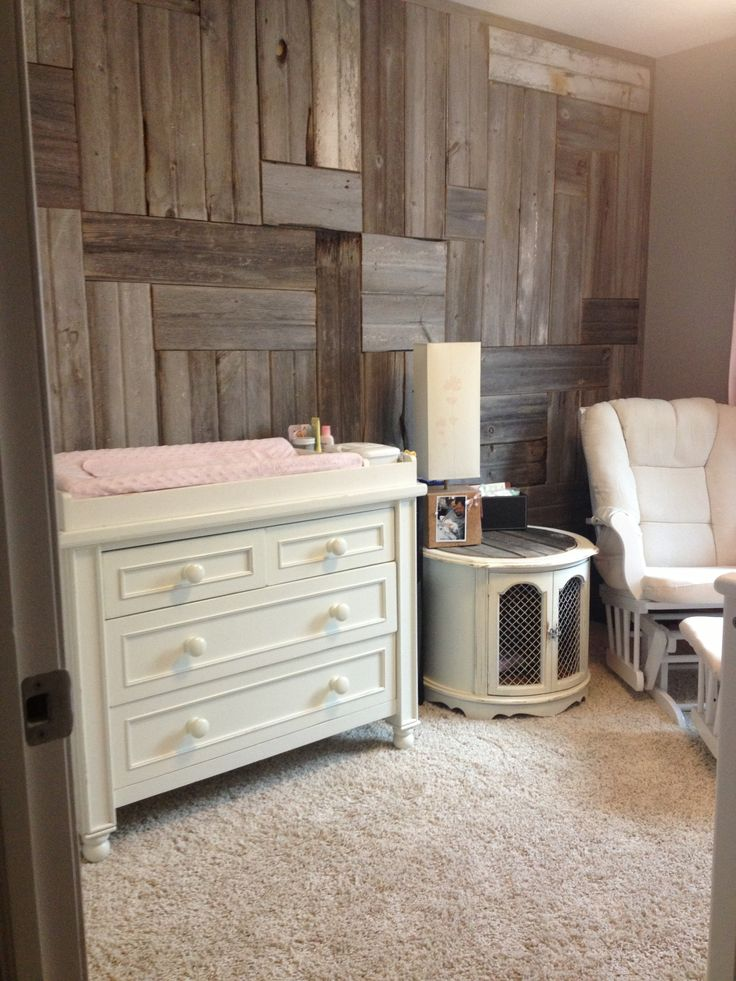 The final product...at least for now! #Reclaimedwood wall. #Babygirl room