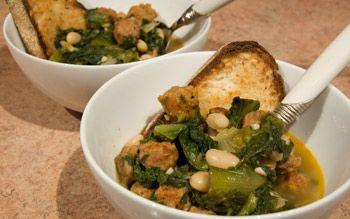 Zuppa di Scarola -   Escarole, Meatball, and Cannellini Bean Soup over Bruschetta