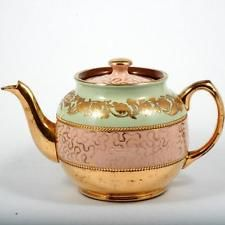 Sadler Brown Betty Teapot English Pottery Pink Green Gold Flowers 1940s
