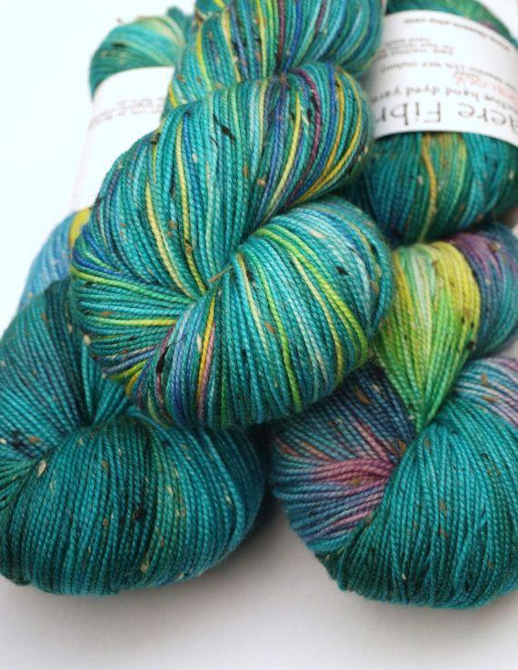 Hand Dyed Fingering/Sock Yarn, Peacock