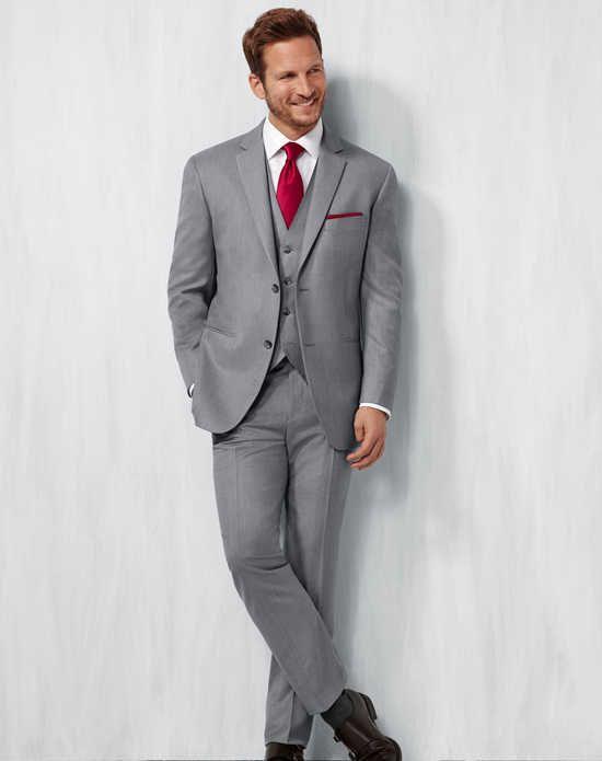 Men's Wearhouse Notch Lapel Gray Suit Wedding Tuxedos + Suit photo