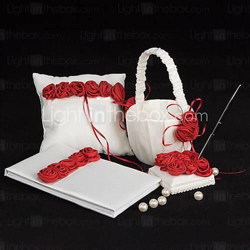 de lujo de color rojo se levantó en negrita conjunto alineados colección de la boda (4 piezas)