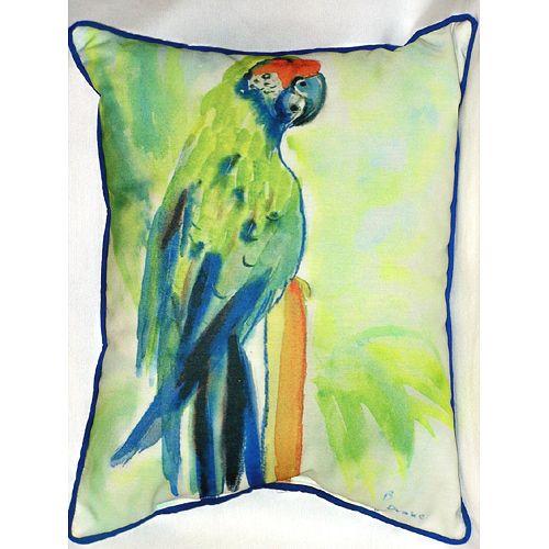 Green Parrot 16x20 Outdoor Pillow Beach Decor Coastal Decor Nautical Decor Tropical