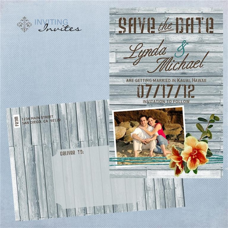cruise wedding save the date announcement%0A Vintage Beach Save the Date Postcard  Photo  Beach Tropical Destination  Wedding