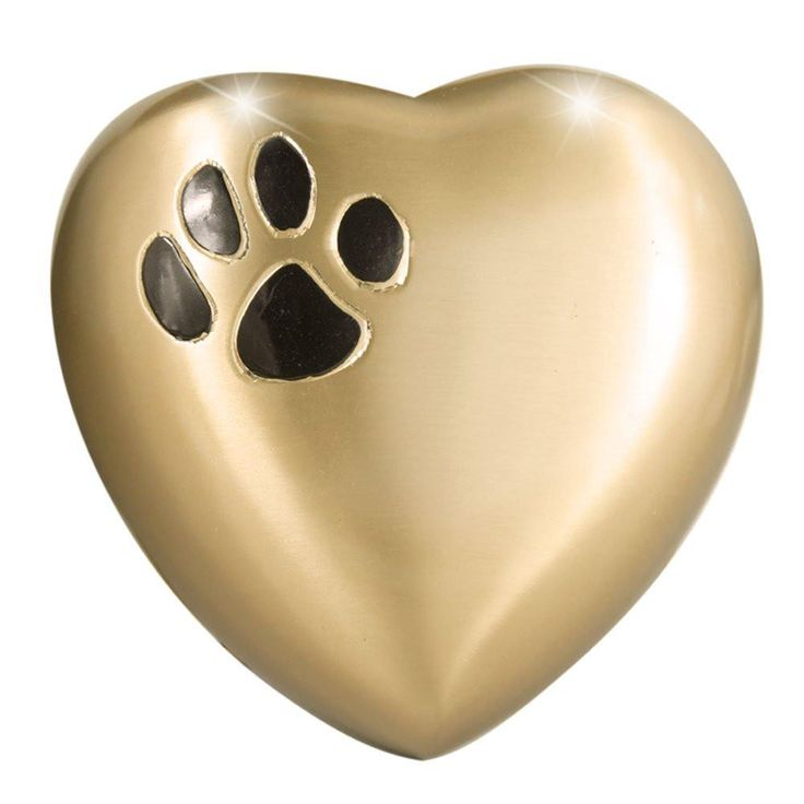 Heart Model by Meilinxu- Pet Urns for Dogs Ashes or Cremation Cat Urns for Ashes- Hand Made in Brass and Hand Engraved- Attractive Display Burial Urn- Dog Memorial and Cat Memorial (Paw Heart-Shaped