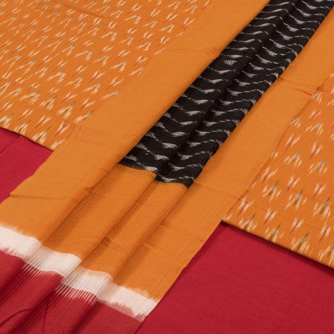 Handwoven Orange Mangalgiri Ikat Cotton 3 Piece Salwar Suit Material 10016175 - AVISHYA.COM