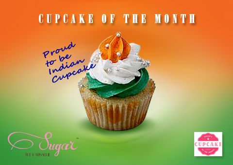 """This month we celebrate Independence Day in our own little way, with the """"Proud to be Indian"""" cupcake - a delicious vanilla cupcake with tricolour frosting. Exclusively at Sugar the Patisserie. Show your pride! #sugarthepatisserie #proudtobeindian #dessert #latenighteats #cupcakeofthemonth #indian"""