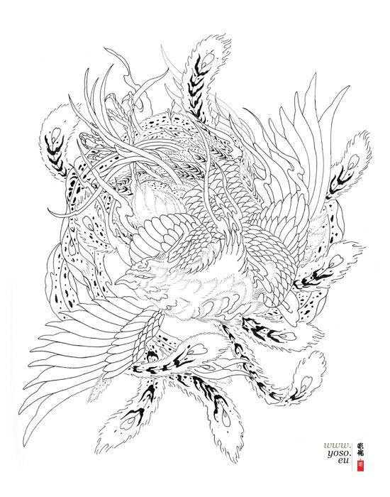 traditional japanese phoenix drawing