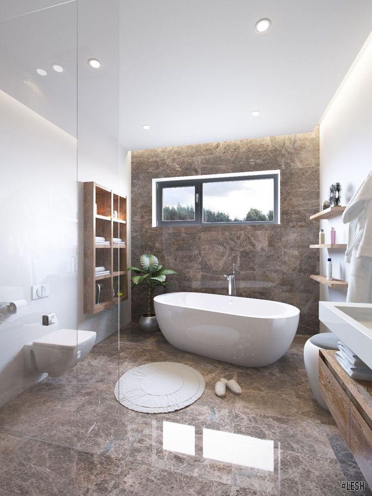 Дизайн интерьера ванной комнаты. Оформление двухэтажного загородного дома | Студия LESH #interior #интерьер