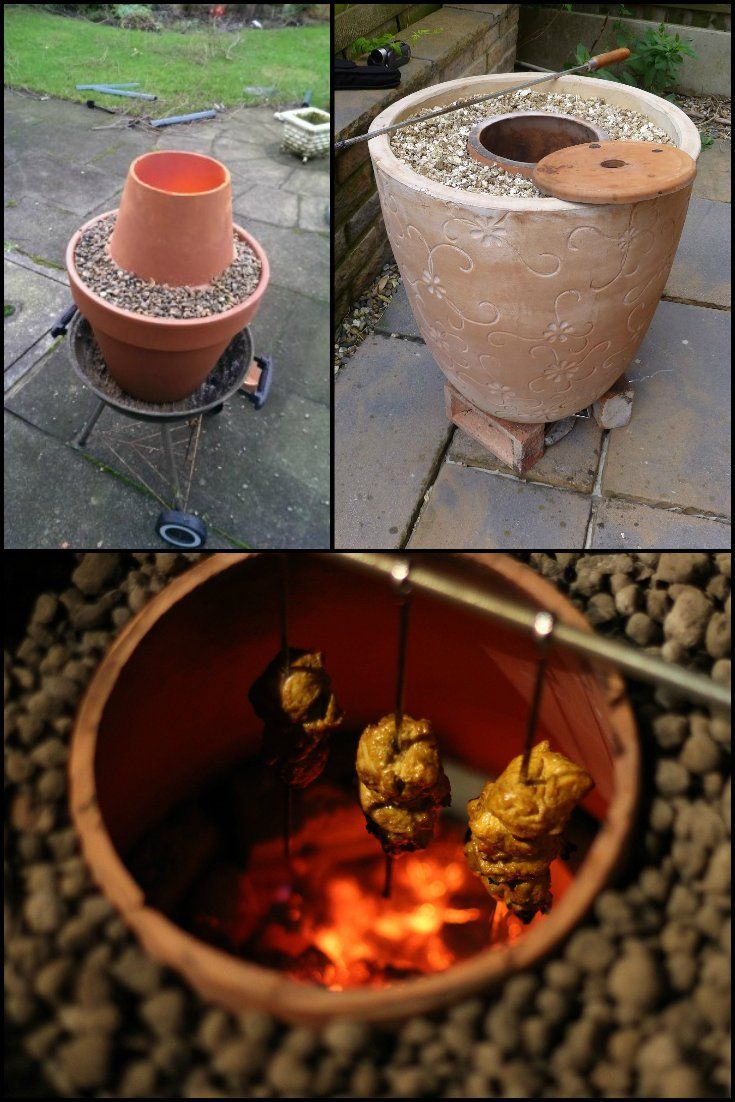 Make an Indian tandoor oven from flower pots. http