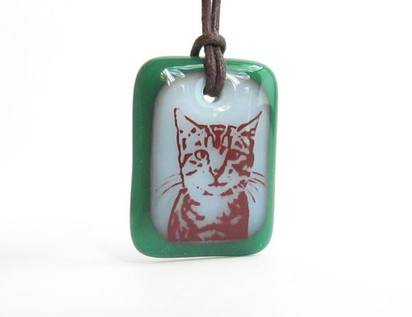 Young Tabby Cat - handmade in glass by  l e i l a c o o l s