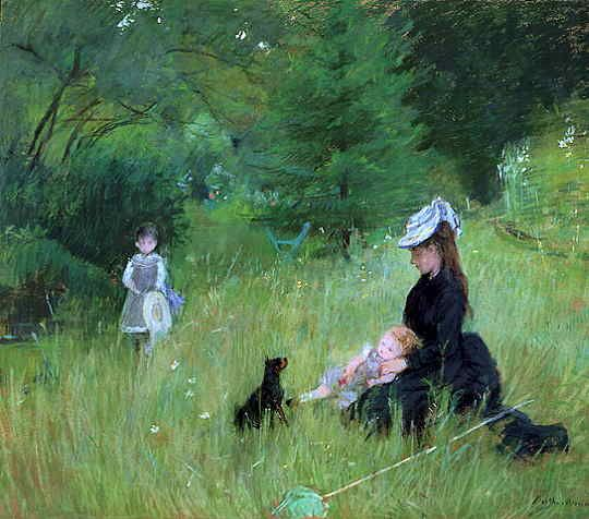 "Berthe Morisot: In a Park   1874; also known as ""On the Grass""; Petit Palais, Paris  Edma and her children."