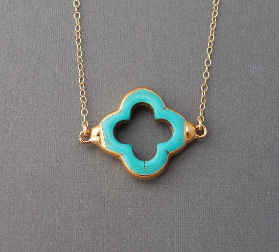 : Turquoise Necklaces, Four Leaf Clovers, Turquoi Necklaces, Turquoi Clovers, Dainty Necklaces, Clovers Necklaces, Gold Necklaces, Turquoise Jewelry, Clovers Gold