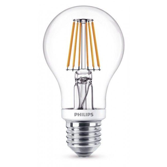 Philips LEDclassic A60 Leuchtmittel E27, 806m, 7,5W, klar, WW, Dimmbar