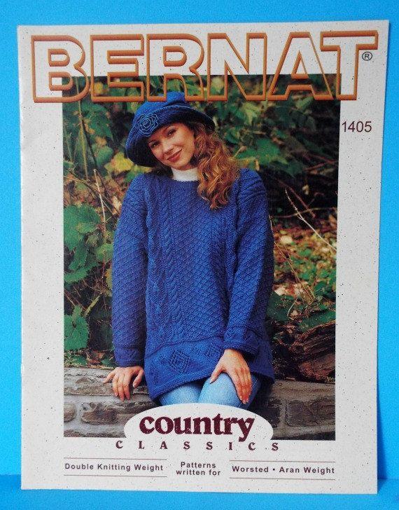 Irish Knitting Pattern Books : Bernat Country Classics Knitting Pattern Aran Cable Knit ...