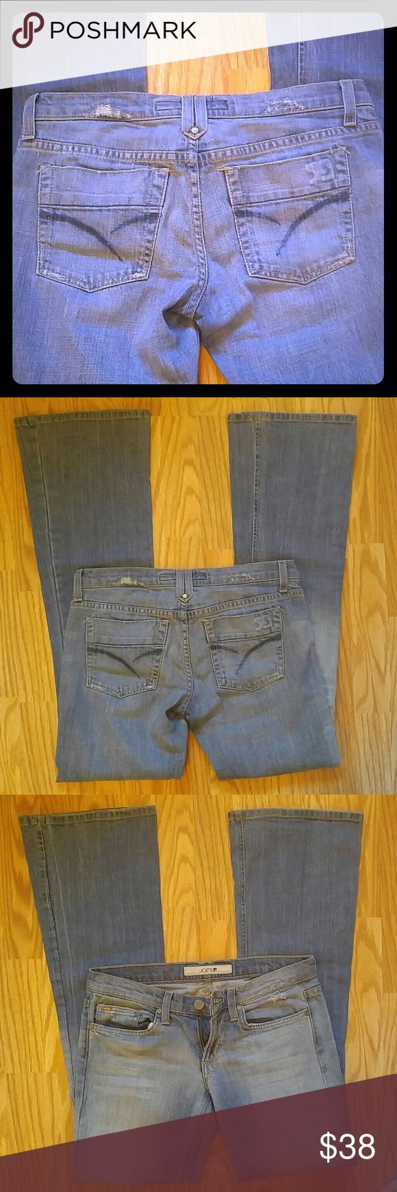 """Joe's light denim jeans like new! Worn once!  Perfect condition Joe's premium denim in Ray style. Medium/light wash, 33"""" inseam, leg opening measures 9.5"""" laying flat. Fit like a 27, low rise. Joe's Jeans Jeans Flare & Wide Leg"""