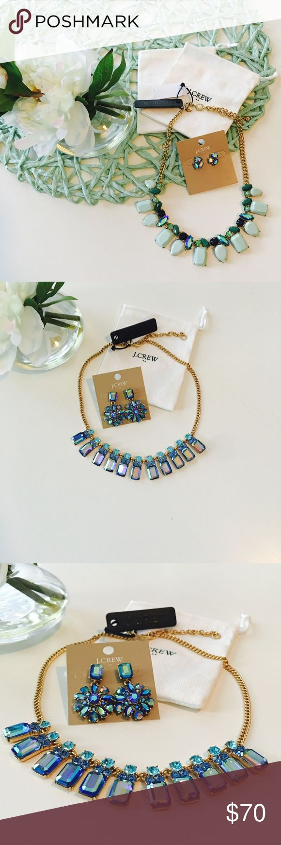 NWT J.CREW Necklace & Earring Set Dazzling Blue Crystal & Gold Necklace Set. J. Crew Jewelry