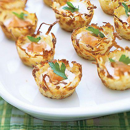 Potato Nests with Sour Cream and Smoked Salmon Recipe | MyRecipes.com