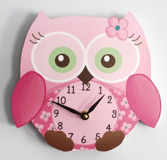 Sweet Little Owl Wooden WALL CLOCK for Girls Bedroom Baby Nursery