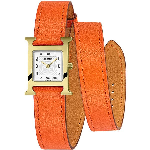 Hermes H Hour Quartz Petite TPM 039351WW00 Watch (8,325 SAR) ❤ liked on Polyvore featuring jewelry, watches, gold plated, orange dial watches, hermes jewelry, hermès, white watches and white wrist watch